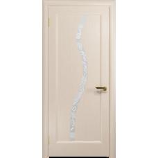 Ульяновская дверь Миланика-4 дуб беленый стекло белое пескоструйное «миланика-4»