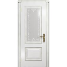 Ульяновская дверь Версаль-1 Декор эмаль белая стекло белое пескоструйное «версаль-1»