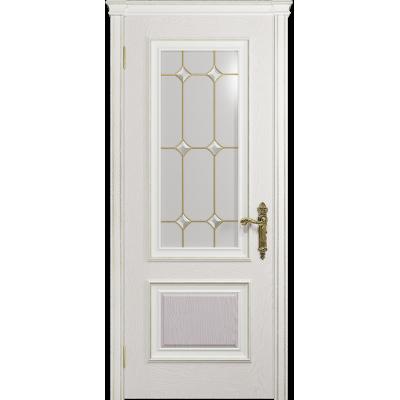 Ульяновская дверь Версаль-1 ясень белый стекло витраж «адель»