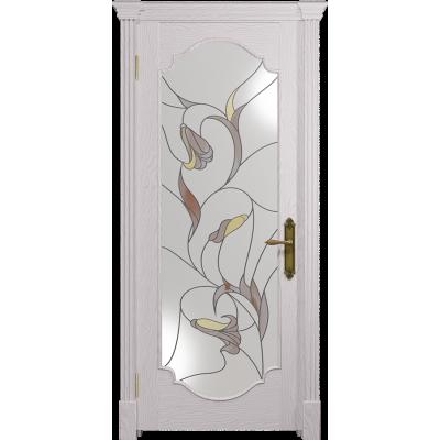 Ульяновская дверь Валенсия-2 ясень белый стекло витраж «кампанелла»