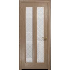 Ульяновская дверь Тесей дуб стекло белое с гравировкой «решетка»