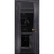 Ульяновская дверь Портелло-2 абрикос стекло триплекс черный «вьюнок» глянцевый