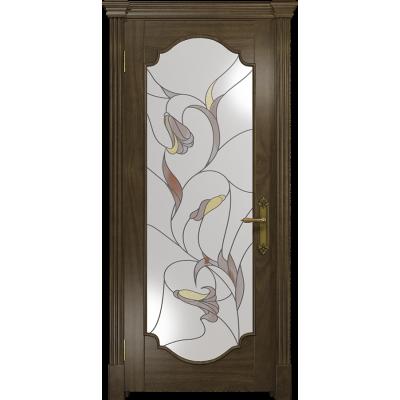 Ульяновская дверь Валенсия-2 американский орех стекло витраж «кампанелла»