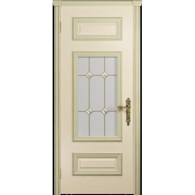 Ульяновская дверь Версаль-4 ясень слоновая кость стекло витраж «адель»