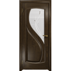 Ульяновская дверь Диона-1 американский орех тонированный стекло белое пескоструйное «капля»