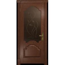Ульяновская дверь Валенсия-1 красное дерево стекло бронзовое пескоструйное «фиор»