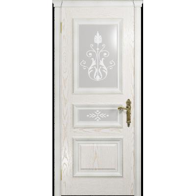 Ульяновская дверь Версаль-2 Декор ясень белый золото стекло белое пескоструйное «версаль-2»