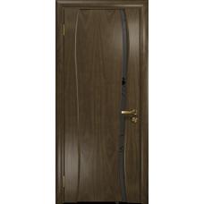 Ульяновская дверь Портелло-1 американский орех стекло триплекс черный «вьюнок» матовый
