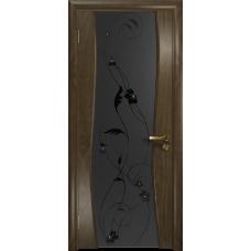 Ульяновская дверь Грация-3 американский орех стекло триплекс черный «вьюнок» матовый