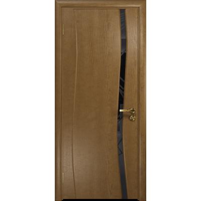 Ульяновская дверь Грация-1 ясень античный стекло триплекс черный 3d «куб»