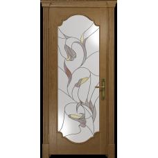 Ульяновская дверь Валенсия-2 ясень античный стекло витраж «кампанелла»