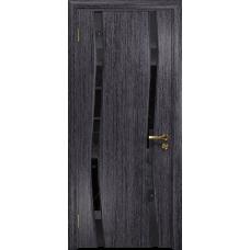 Ульяновская дверь Грация-2 абрикос стекло триплекс черный «вьюнок» глянцевый