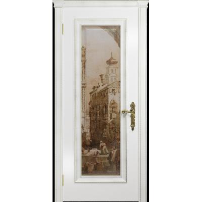 Ульяновская дверь Версаль-5 Декор эмаль белая стекло цифровая фреска