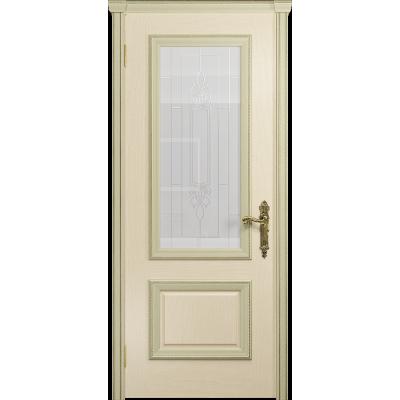 Ульяновская дверь Версаль-1 ясень слоновая кость стекло белое с гравировкой «кардинал»