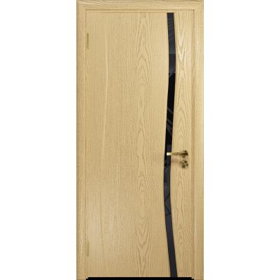 Ульяновская дверь Грация-1 ясень ваниль стекло триплекс черный 3d «куб»