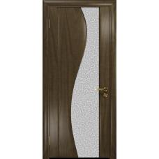 Ульяновская дверь Фрея-2 американский орех стекло триплекс белый с тканью