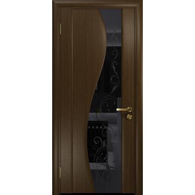 Ульяновская дверь Фрея-2 венге стекло триплекс черный «сабина» глянцевый
