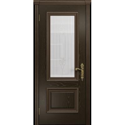 Ульяновская дверь Версаль-1 ясень венге стекло белое с гравировкой «кардинал»