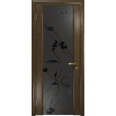Ульяновская дверь Триумф-3 американский орех стекло триплекс черный «вьюнок» матовый
