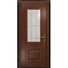 Ульяновская дверь Кардинал красное дерево стекло витраж «адель»