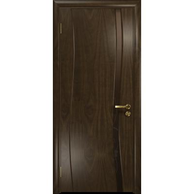 Ульяновская дверь Грация-1 американский орех тонированный стекло триплекс бронзовый «вьюнок» глянцевый
