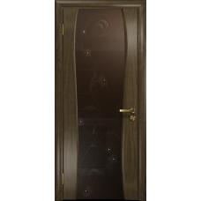 Ульяновская дверь Портелло-2 американский орех стекло триплекс бронзовый «вьюнок» глянцевый
