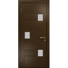 Ульяновская дверь Ронда-1 венге стекло триплекс белый с тканью