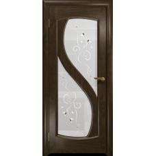Ульяновская дверь Диона-2 американский орех тонированный стекло белое пескоструйное «лилия»