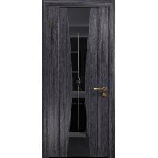 Ульяновская дверь Соната-2 абрикос стекло триплекс черный с гравировкой «звезда»