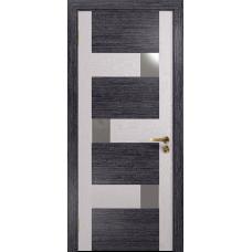Ульяновская дверь Ронда-1 абрикос/ясень белый стекло триплекс зеркало