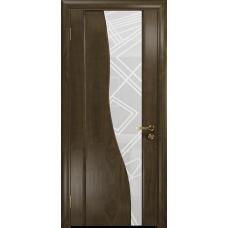 Ульяновская дверь Торелло американский орех стекло триплекс белый 3d «куб»