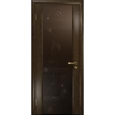 Ульяновская дверь Триумф-3 американский орех тонированный стекло триплекс бронзовый «вьюнок» глянцевый