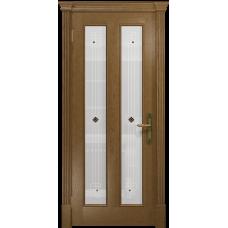Ульяновская дверь Неаполь ясень античный стекло белое пескоструйное «ромб»