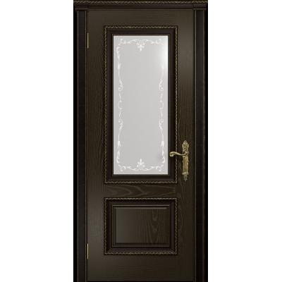 Ульяновская дверь Версаль-1 Декор ясень венге стекло белое пескоструйное «версаль-1»