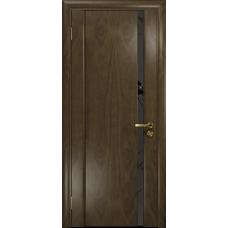 Ульяновская дверь Триумф-1 американский орех стекло триплекс черный «вьюнок» матовый
