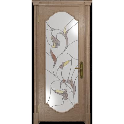 Ульяновская дверь Валенсия-2 дуб стекло витраж «кампанелла»