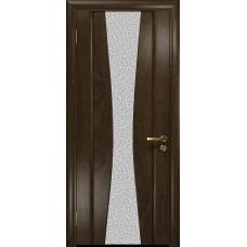 Ульяновская дверь Соната-2 американский орех тонированный стекло триплекс белый с тканью