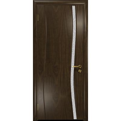 Ульяновская дверь Грация-1 американский орех тонированный стекло триплекс белый с тканью