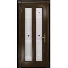 Ульяновская дверь Неаполь американский орех тонированный стекло белое пескоструйное «ромб»
