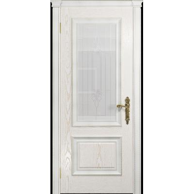 Ульяновская дверь Версаль-1 Декор ясень белый золото стекло белое с гравировкой «кардинал»