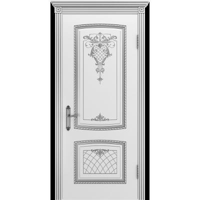 Ульяновская дверь Аристократ белая эмаль патина серебро ДГ