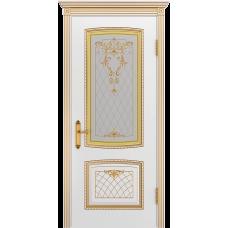 Ульяновская дверь Аристократ белая эмаль патина золото ДО