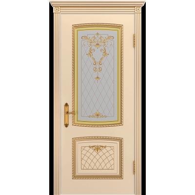 Ульяновская дверь Аристократ эмаль слоновая кость патина золото ДО