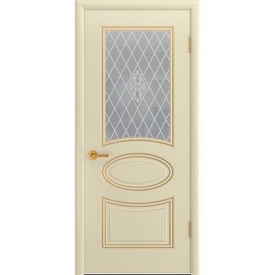 Ульяновская дверь Багет-1С эмаль слоновая кость патина золото ДО