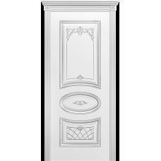 Ульяновская дверь Багет-3 белая эмаль патина серебро ДГ