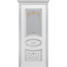 Ульяновская дверь Багет-3 белая эмаль патина серебро ДО