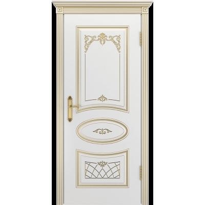 Ульяновская дверь Багет-3 белая эмаль патина золото ДГ