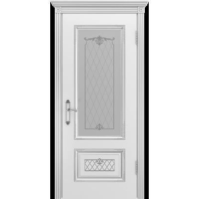 Ульяновская дверь Британия-3 белая эмаль патина серебро ДО