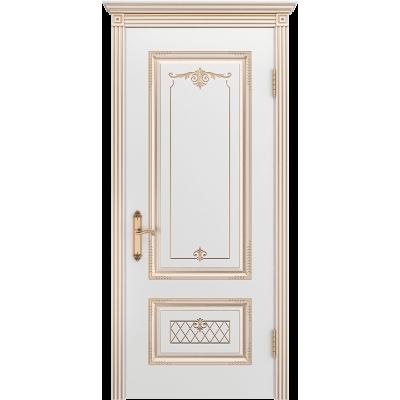 Ульяновская дверь Британия-3 белая эмаль патина золото ДГ