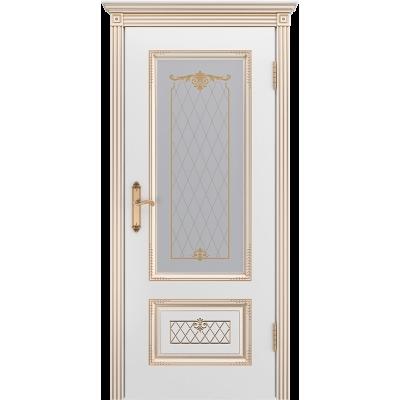 Ульяновская дверь Британия-3 белая эмаль патина золото ДО